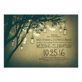 string of lights mason jars vintage wedding personalized invite