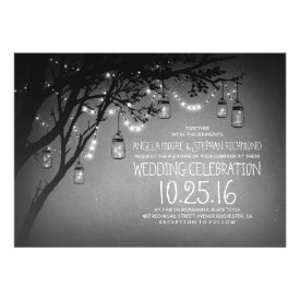 string of lights mason jars vintage wedding invite