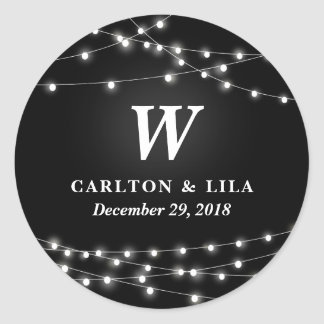 String of Lights Monogram Personalized Wedding Day Classic Round Sticker