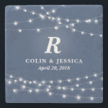 """String of Lights Monogram Personalized Wedding Day Stone Coaster<br><div class=""""desc"""">Your favorite bride and groom will love this customizable stone coaster featuring their wedding day or anniversary! Strings of white lights surround a monogram, couple&#39;s names and wedding date or other special occasion. You can change the navy background color by clicking the Customize button. Makes a beautiful, modern, personalized gift....</div>"""