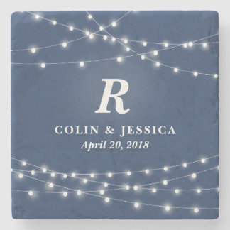 String of Lights Monogram Personalized Wedding Day Stone Coaster