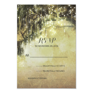 String of lights mossy tree rustic wedding RSVP 3.5x5 Paper Invitation Card