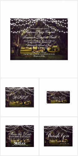 String of Lights Oak Tree Wedding Invitation Set
