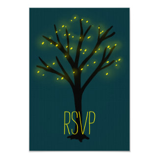 String of Lights Oak Tree Wedding RSVP Cards