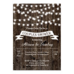 String of lights, old wood wedding couples shower 5x7 paper invitation card