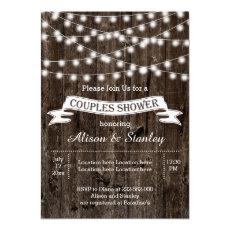String of lights, old wood wedding couples shower 5