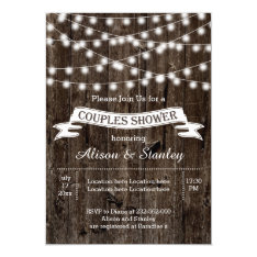 String of lights, old wood wedding couples shower 5x7 paper invitation card at Zazzle
