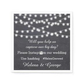 String of lights on chalkboard & hashtag wedding standard cocktail napkin