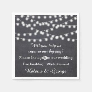 String of lights on chalkboard & hashtag wedding paper napkin