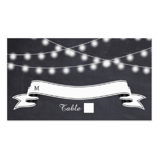 String of lights  on chalkboard wedding place card Double-Sided standard business cards (Pack of 100)