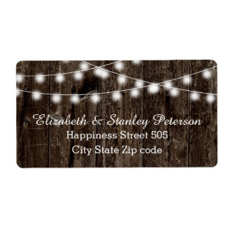 String of lights on old wood summer wedding shipping label