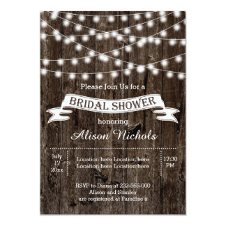 String of lights on old wood wedding bridal shower personalized invitation