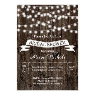 "String of lights on old wood wedding bridal shower 5"" x 7"" invitation card"