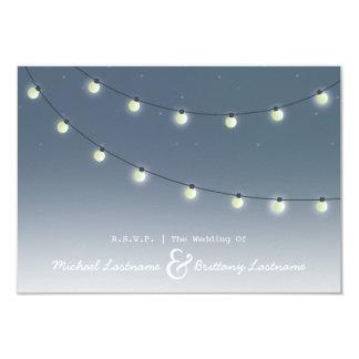 """String of Lights Outdoor Evening Wedding R.S.V.P. 3.5"""" X 5"""" Invitation Card"""