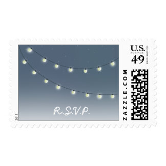 String Of Lights Outdoor Evening Wedding R.S.V.P. Postage