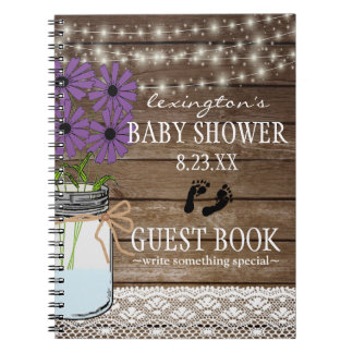 String Of Lights Purple Baby Shower Guestbook | Notebook