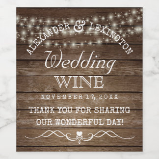String Of Lights Rustic Country Wedding Bottle Wine Label