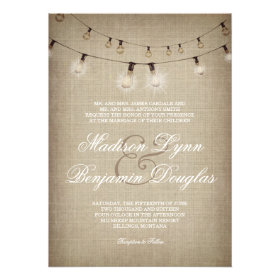 String of Lights Rustic Country Wedding Invitation