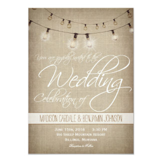 """String of Lights Rustic Country Wedding Invitation 4.5"""" X 6.25"""" Invitation Card"""