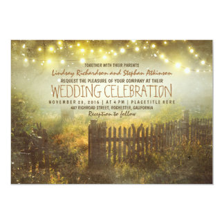 """string of lights rustic country wedding invitation 5"""" x 7"""" invitation card"""