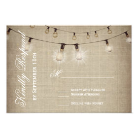 String of Lights Rustic Country Wedding RSVP Cards