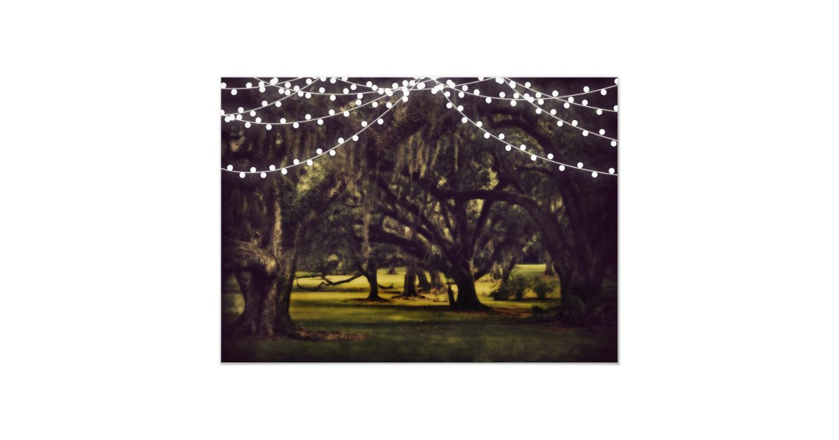 String Lights Rustic Tree : String of Lights Rustic Oak Tree Wedding Invites Zazzle