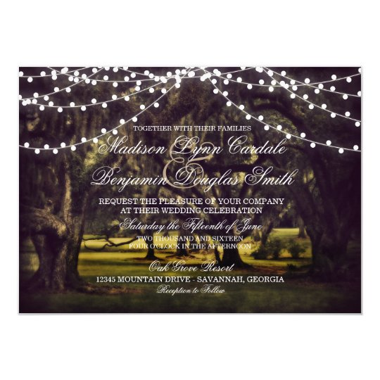 Awesome String Of Lights Rustic Oak Tree Wedding Invites