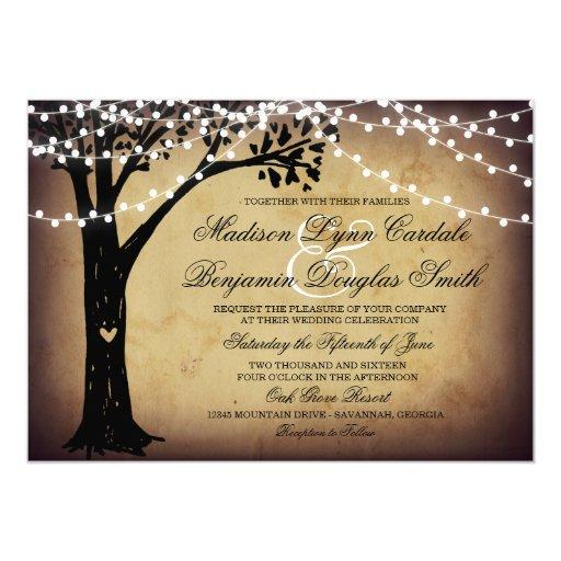 String of Lights Rustic Oak Tree Wedding Invites Zazzle