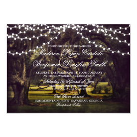 String of Lights Rustic Oak Tree Wedding Invites 4.5
