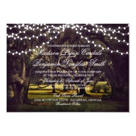 String of Lights Rustic Oak Tree Wedding Invites 4.5