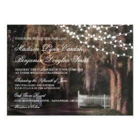 String of Lights Rustic Oak Wedding Invitations 4.5