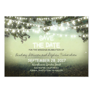 string of lights rustic SAVE THE DATE FLAT CARDS