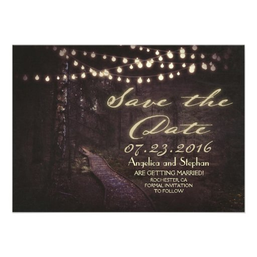 string of lights rustic trees save the date 4.5