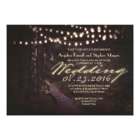 string of lights rustic trees wedding invitation