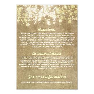 String of lights rustic wedding information cards