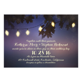 string of lights rustic wedding invitation custom announcements