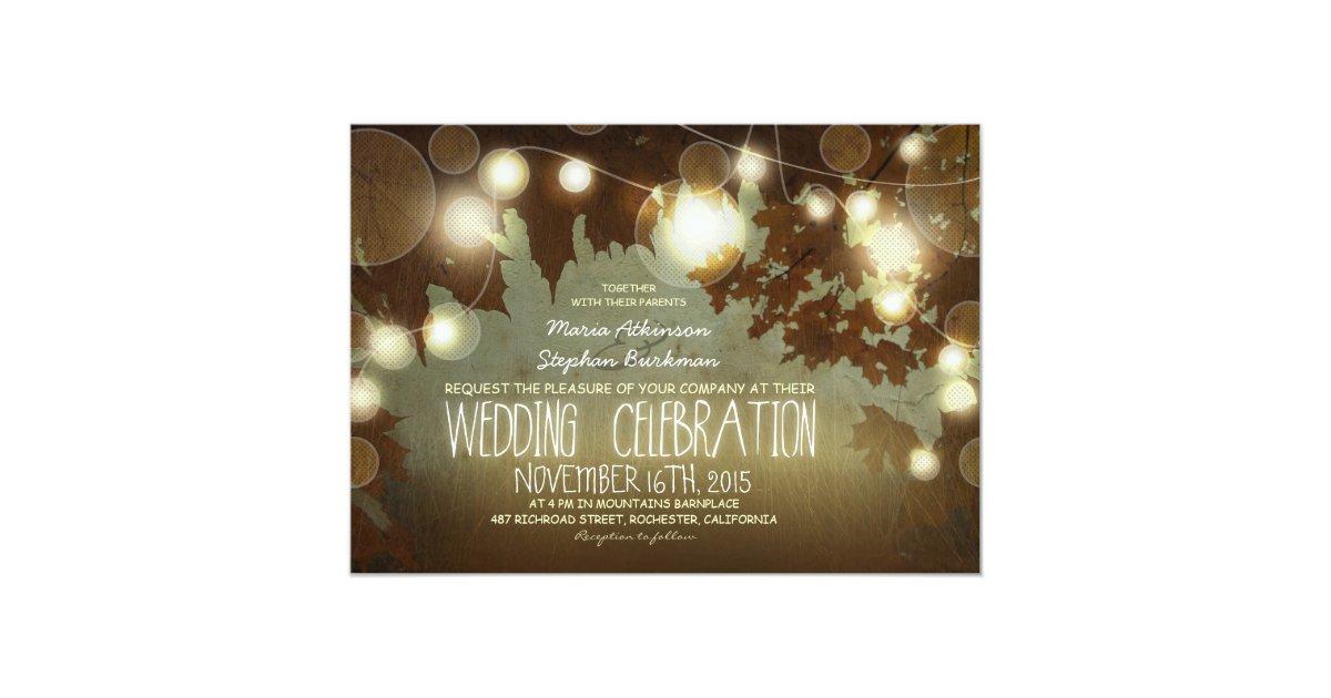 string of lights rustic wedding invitation Zazzle