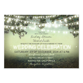 "string of lights rustic wedding invitation 5"" x 7"" invitation card at Zazzle"
