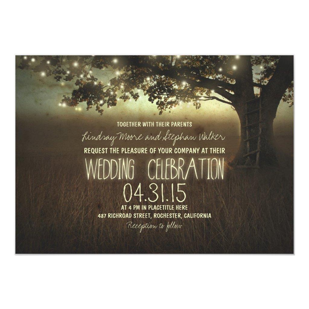 string of lights rustic wedding invitation
