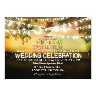 string of lights rustic wedding invitation invitation