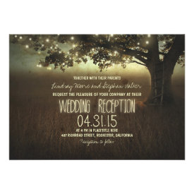 string of lights rustic wedding reception custom announcement