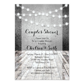 String of Lights Rustic Wood Background Card