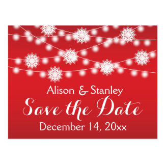 String of lights, snowflake wedding Save the Date Postcard