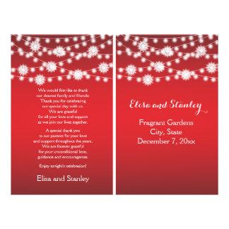String of lights snowflakes red wedding program