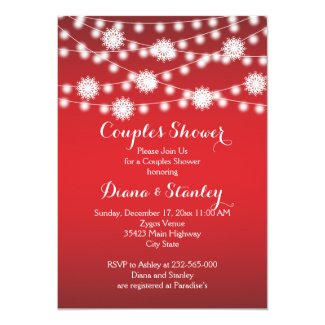 String of lights snowflakes wedding couples shower 5x7 paper invitation card