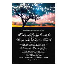 String of Lights Tree at Sunset Wedding Invitation