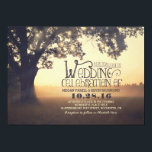 """String of Lights Tree Rustic Vintage Wedding Card<br><div class=""""desc"""">Vintage wedding invitation with strings of lights hanging on the branches of the old tree. Rustic wedding invitation for the countryside wedding. --- All design elements created by Jinaiji.</div>"""