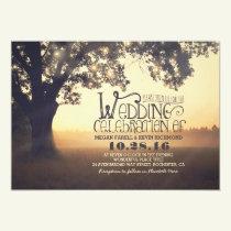 String of Lights Tree Rustic Vintage Wedding Invitation