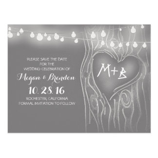 String of lights tree save the date postcards