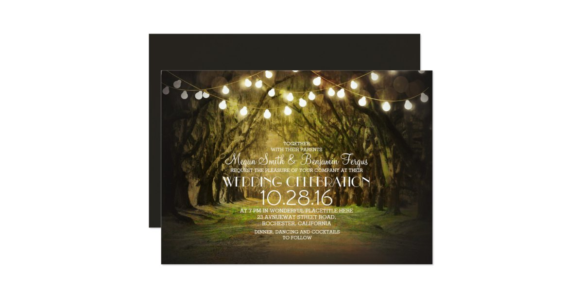 Zazzle String Lights : String of Lights Trees Path Rustic Wedding Invites Zazzle